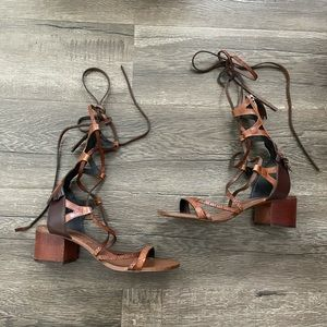 Zara gladiator lace up leather brown sandals heels